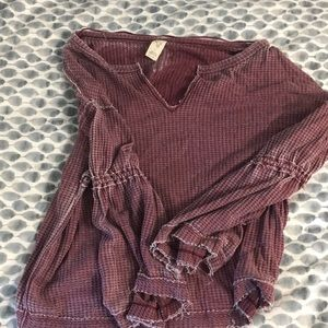 Free People Waffle Thermal Sweater